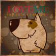 EPS10 vintage card with cartoon doggy — Image vectorielle