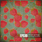 EPS10 vintage background with strawberries — 图库矢量图片