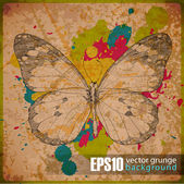EPS10 vintage background with butterfly — Stock Vector