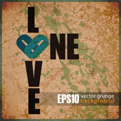 EPS10 vintage background with ONE LOVE grunge text — ストックベクタ