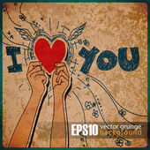 EPS10 vintage background with hands holding the heart — Stock Vector