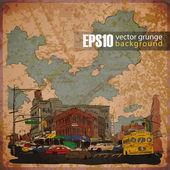 Eps10 vintage achtergrond met stadsgezicht — Stockvector