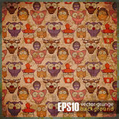 EPS10 vintage background with cartoon animals — Stock Vector