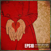 EPS10 vintage background with the girl in a red coat with the drawn heart in palms. — Stock Vector