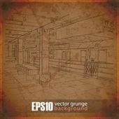 Eps10 vintage fond avec la station de métro — Vecteur