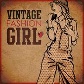 Eps10 vinobraní pozadí s pěknou mladou dívku — Stock vektor