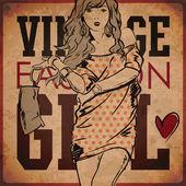 Eps10 Vintage Hintergrund mit hübschen, jungen Mädchen — Stockvektor