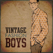 Vintage background with stylish dude. — Stock Vector