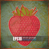 EPS10 vintage background with strawberry — 图库矢量图片