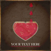 EPS10 vintage background with capacity in the form of heart — Stockvektor