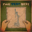 Drawing of a sheet of paper with statue of liberty illustration in hands. Vector. - Stock Vector