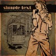 EPS10 vector illustration of a pretty fashion girl and old tram. Vintage style. Place for your text. — Image vectorielle
