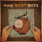 漫画の手の中の親愛なる実例と紙のシートの図面。ベクトル. — ストックベクタ