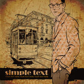 Vector illustration of a stylish guy and old tram. — Stockvektor