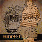 EPS10 vector illustration of a pretty fashion girl and old tram. Vintage style. Place for your text. — Stock Vector