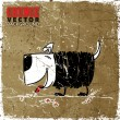 Vintage scratched background with funny doggy. - Imagen vectorial