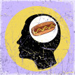 Vintage scratched background with human head and hot dog. — Stock vektor #21584029
