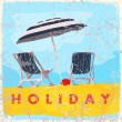 Vintage scratched background with deck chair and umbrella. — Stock Vector