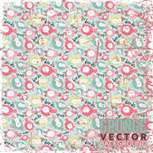 Seamless texture with funny smiled birds in sketch style. Vector illustration. — Stock Vector