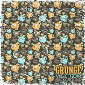 Vintage scratched background with cartoon dogs — Stock Vector