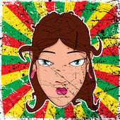 Vintage scratched background with girl head. — Stock Vector