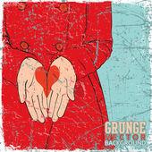 Vintage repad bakgrund med flickan i röd jacka med ritade hjärtan i palms. — Stockvektor