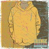 Vintage scratched background with sweatshirt. — Stock Vector