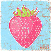 Vintage scratched background with strawberries — Vettoriale Stock
