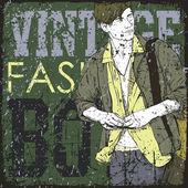 Cara elegante com saco em um fundo de grunge. ilustração vetorial. — Vetorial Stock
