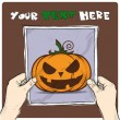 Royalty-Free Stock Vector Image: Drawing of a sheet of paper with cartoon halloween pumpkin