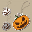 Set of tags with cartoon halloween pumpkin. Vector — Stock Vector