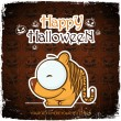 Halloween greeting card with cartoon tiger. Vector illustration - Stock Vector