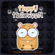 Halloween greeting card with cartoon hamster. Vector illustration - Stock vektor