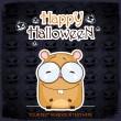 Halloween greeting card with cartoon hamster. Vector illustration — Stock Vector