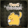 Halloween greeting card with cartoon kitty. Vector illustration - Stock Vector