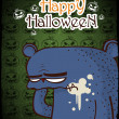 Halloween greeting card with cartoon bear. Vector illustration - Stock Vector