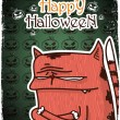 Halloween greeting card with cartoon kitty. Vector illustration - Stock vektor