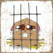 Crying hamster in a cage. Grunge vector illustration. - Stock Vector