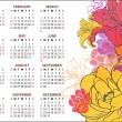2013. Calendar with illustration of flowers — Stock Vector
