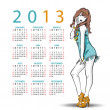 2013. Calendar with fashion girl - Stockvektor
