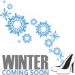Abstract vector illustration of shoes and snowflakes. — Stockvectorbeeld