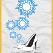 Abstract vector illustration of shoes and snowflakes. - Stock Vector