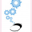Abstract vector illustration of manhole and snowflakes. — Stock Vector