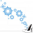 Abstract vector illustration of shoes and snowflakes — Stock Vector