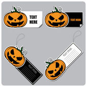 Set of tags and stickers with cartoon halloween pumpkin. Vector — Stock Vector