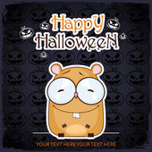 Halloween greeting card with cartoon hamster. Vector illustration — Stock Vector