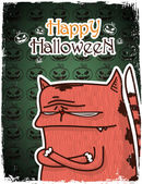 Halloween greeting card with cartoon kitty. Vector illustration — Stock Vector