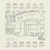 Vector calendar 2013 with cityscape illustration. — Stock Vector