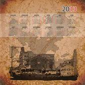 Vector calendar 2013 with cityscape illustration — Stock Vector