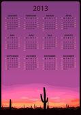 2013. Calendar with illustration mexican desert sunset — Stock Vector